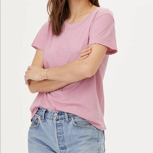 LNA Distressed Crewneck Tee in Fox Glow Pink